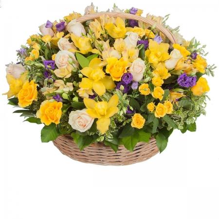 Цветы в корзине Солнечный фреш