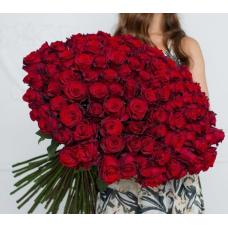 Букет 101 красная роза 80 см.