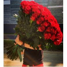 Букет 101 красная роза 90 см.