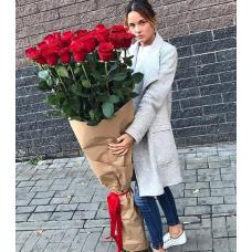 Букет 21 красная роза 170 см.
