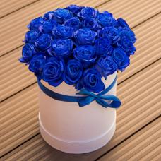 21 синяя роза в коробке