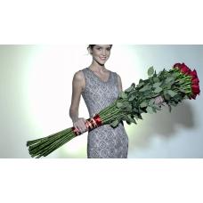 Букет 25 красных роз 150 см.