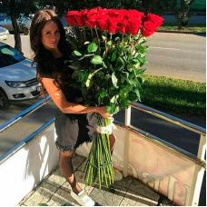 Букет 25 красных роз 170 см.