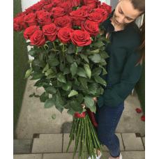 Букет 31 красная роза 160 см.