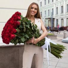 Букет 75 красных роз 100 см.