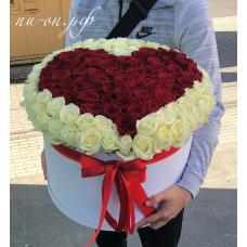 """Букет 121 Роза в коробке """"Сердце"""""""