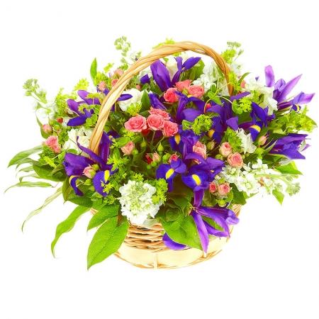 Цветы в корзине Синяя птица
