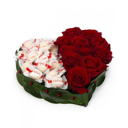 Сердце из цветов Сладкое сердце