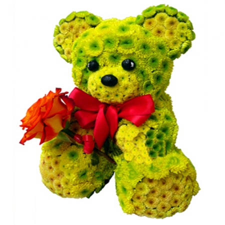 Игрушка из цветов Желтый Мишка с розой
