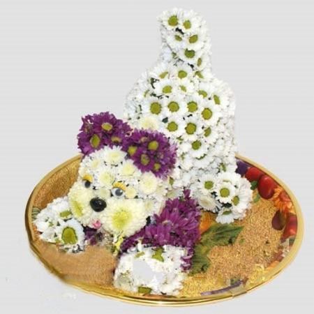 Игрушка из цветов Играющий Щенок
