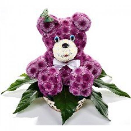 Игрушка из цветов Фиолетовый мишка