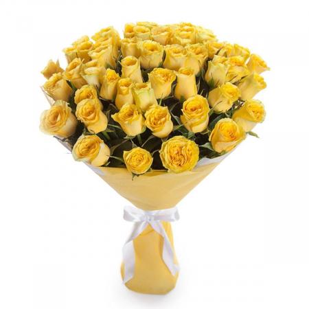"""Букет из 51 желтой розы """"Кусочек солнца"""""""