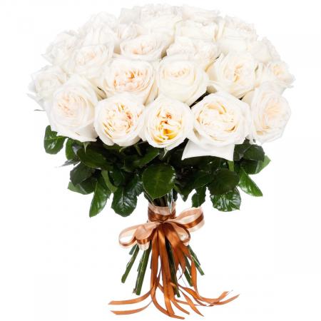 """Букет ароматных пионовидных роз """"White O""""Hara"""""""
