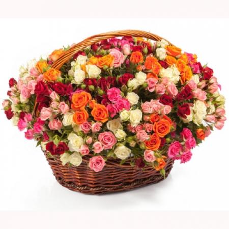 Цветы в корзине Страстная любовь