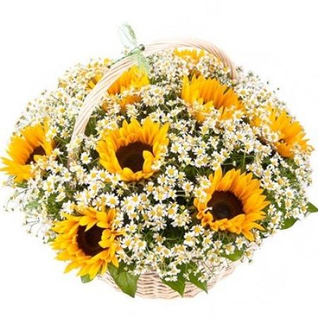 Цветы в корзине Цветущее поле
