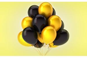 15 шаров (черные+золотые)